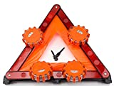 Road Safety Kit, Roadside Safety Disc 4 Pack with Emergency Triangle Bundle, LED Light Kits for Truck and Car
