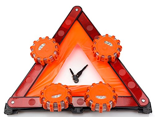 Road Safety Kit, Roadside Safety Disc 4 Pack with Emergency Triangle Bundle, LED Light Kits for Truck and Car by TOP iron work