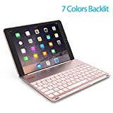 Image of Keyboard Case for iPad PRO 9.7 Inch / iPad Air 2-LED 7 Colors Backlit Bluetooth keyboard Folio Case Cover, Ultra Slim, Aluminum Alloy&130° Rotating - (for iPad model:A1566/A1567/A1673/A1674)-Rose gold