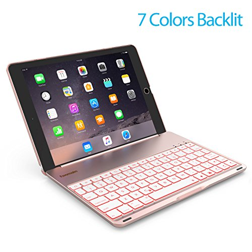 Keyboard Case for iPad PRO 9.7 Inch / iPad Air 2-LED 7 Colors Backlit Bluetooth keyboard with 130° Folio Hard Back Cover, Ultra Slim, Aluminum Alloy- (for iPad model: A1566/A1567/A1673/A1674) Image