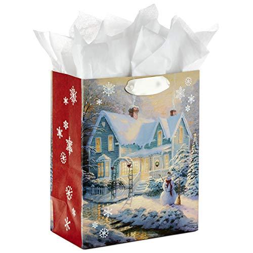 Hallmark Medium Thomas Kinkade Christmas Gift Bag with Tissue Paper (Snowy House) ()