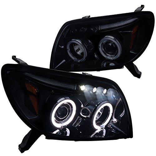 4runner Projector Headlights (Spec-D Tuning 2LHP-4RUN03G-TM Toyota 4Runner Glossy Black Halo Projector LED Smoke Lens Headlights)