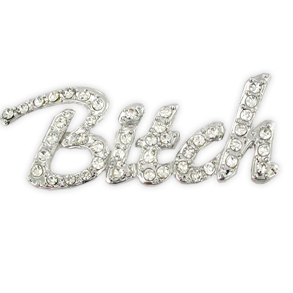 PinMart's Silver Plated Rhinestone Bitch Trendy Brooch Pin