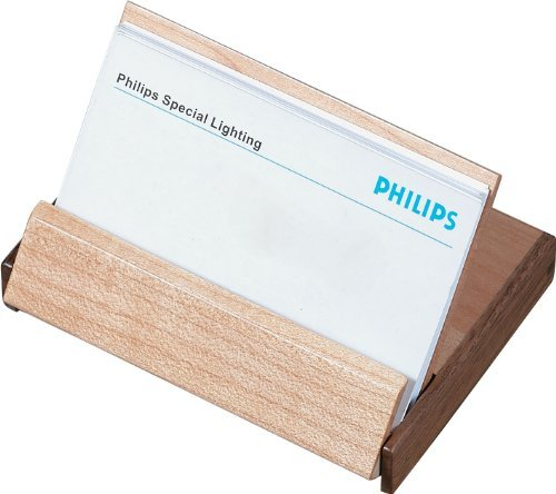 Visol Products V804B Durmast Natural Maple Wood and Walnut Desktop Business Card Holder by Visol