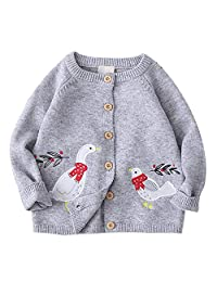 Achiyi Girls Cardigan Sweaters Grey Bird Embroidery Prints Long Sleeve Knitted Outwear Button up Round Collar Sweatshirt