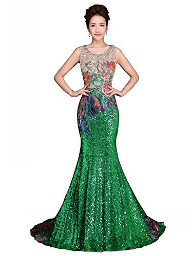 Beading Annie's Long Women's Prom Bridal Green Formal Mermaid Dresses Sequin Evening w1w7tqZ6