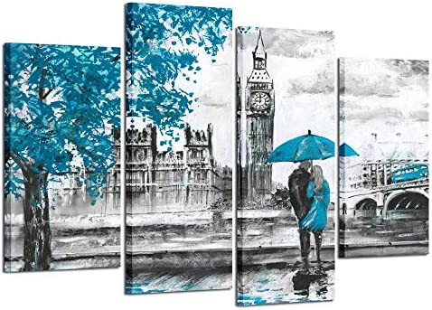 Kreative Arts Black and White Wall Art HD Prints Landscape Canvas Paintings Blue London Street Artwork Man and Woman Under Red Umbrella Modern Wall Decor Pictures Wooden Framed Big Ben Blue
