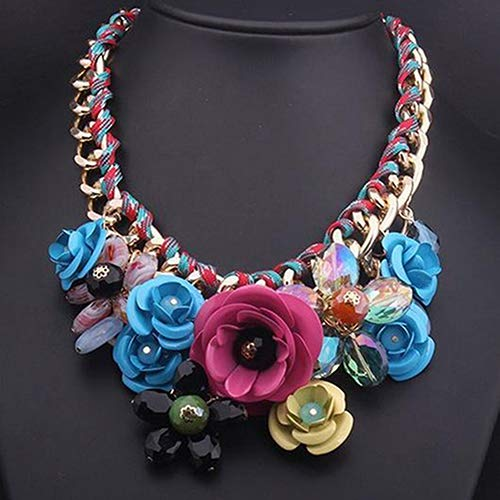 - soAR9opeoF Elegant Women Flower Statement Necklace, Pendant Rhinestone Statement Bib Collar Necklace Xmas Gift Multicolor