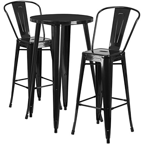 Flash Furniture 24'' Round Black Metal Indoor-Outdoor Bar Table Set with 2 Cafe Stools (Set Bistro Bar)