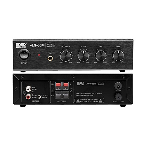 OSD Audio AMP65 50W RMS (25Wx2) Aluminum Face Compact Stereo Amplifier w/ 1/4