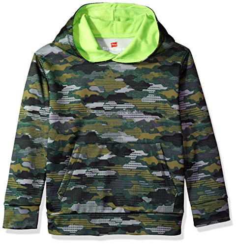 Hanes Boys' Big Tech Fleece Pullover Raglan Hoodie, Fast Dash camo, Large
