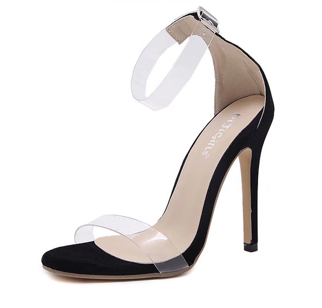KS Women's Summer Fashion Sexy Open Toe transparent High Heels Sandals(Black,US 7) by Kids Showtime