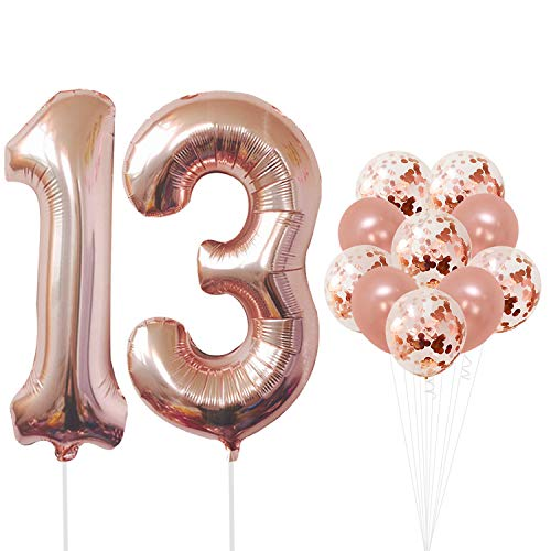 Rose Gold 13 Number Balloons - Large, 1 and 3 Mylar Rose Gold Balloons, 40 Inch | Extra Pack of 10 Latex Baloons, 12 Inch | Great 13th Birthday Party Decorations| 13 Year Old Rose Gold Party Supplies