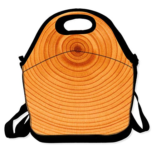 Lunch Bag for Boys Girls Kids Women Insulated Thick Lunch Tote Bags with Shoulder Strap Lunchbox Handbag Food Bento Boxes Container for Work School-Wood Annual Ring