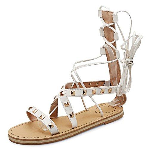 COOLCEPT Mujer Moda Cordones Sandalias Punta Abierta Hueco Planos Zapatos Blanco