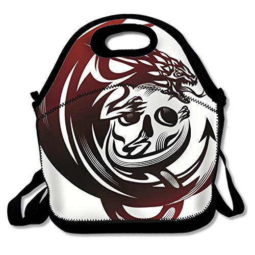 Bjiansoah Dragon Skull Tattoo Lunch Bags Insulated Handbag Lunchbox Tote Cooler Warm Pouch With Shoulder Strap For Women Teens Girls Kids Adults Handbag for School Office