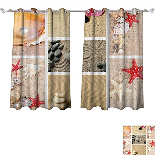 Youdeem-home Customized Curtains Tropical Zen Garden Collage Sand Stones Seashells Scallop Pearl Starfish Japanese Theme Sand Brown Tan Tie Up Shades Rod Blackout Curtains W72 x L45/Pair