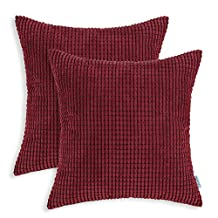 Set 2 CaliTime Pillow Covers Comfortable Soft Corduroy Corn Striped 18 X 18 Inches Burgundy