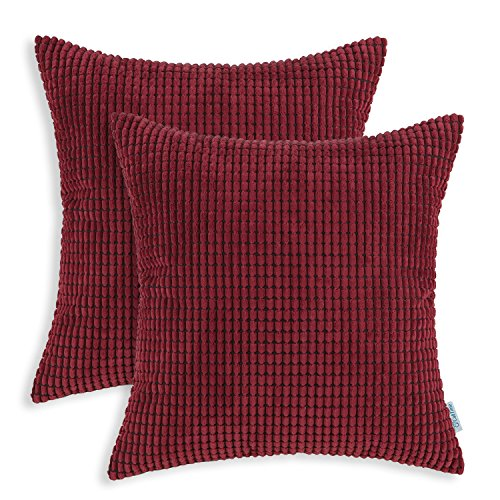 Pack of 2, CaliTime Throw Pillow Covers Cases for Couch Sofa Bed, Comfortable Supersoft Corduroy Corn Striped Both Sides, 20 X 20 Inches, Burgundy Corduroy Accents