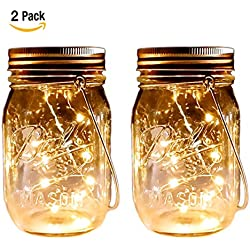 2 Pack - Mason Jar Lights - Solar Mason Jar Lid Insert with LED String Lights - Warm White Firefly Lights, Hanging Lantern Lights with Wire Hanger for Garden, Patio, Outdoor Party Decorations