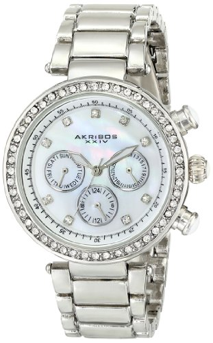 Akribos XXIV Women's AK681SS Lady Diamond Quartz Stainless Steel Bracelet Watch