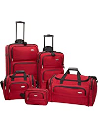 5 Piece Nested Luggage Set, Red