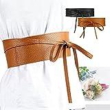 NRTSS Women's PU Leather OBI Self Tie Bowknot Waist