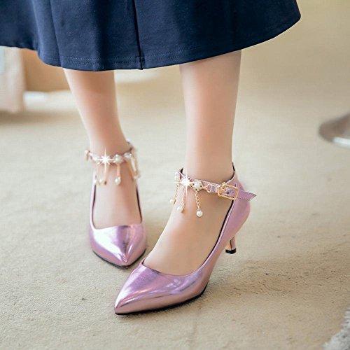 YE Damen Kitten Heels Spitze Ankle Strap Pumps mit Riemchem und 4cm Absatz Elegant Schuhe Lila