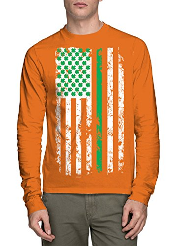 Orange Irish Flag (HAASE UNLIMITED Long Sleeve Men's American Flag With Irish Clovers Shirt (Orange, X-Large))