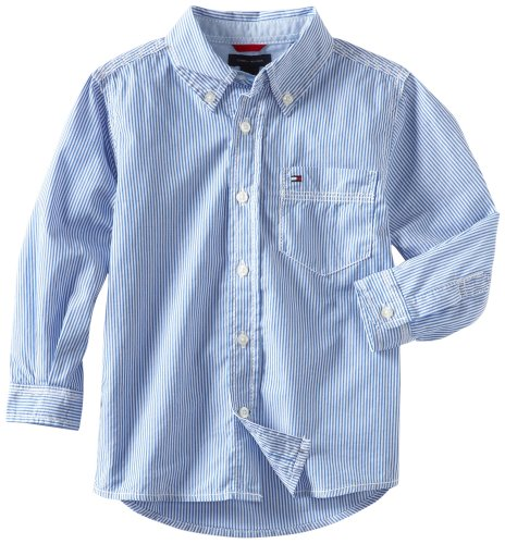 Tommy Hilfiger Stripe Shirt - Tommy Hilfiger Big Boys' Tommy Stripe Woven Shirt, Strong Blue, Large