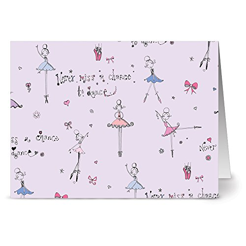 Never Miss a Chance to Dance - 36 Note Cards - Blank Cards - Plum Purple Envelopes Included