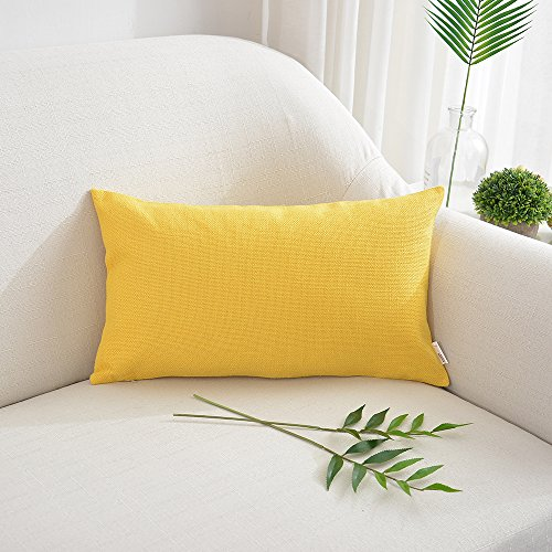 NATUS WEAVER Decorations Soft Linen Blended Burlap Throw Pillowcase Cushion Cover for Lumbar rest, 12 x 20 Inch 30cm x 50cm, Bright Yellow