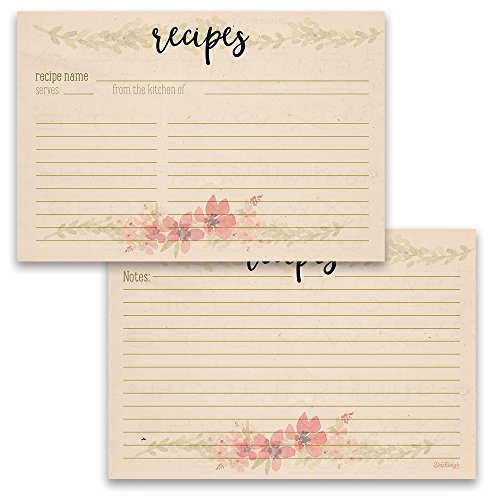 Freeform Rose - Vintage Floral Recipe Card Set from Dashleigh, 48 Cards, 4x6 inches, Water-Resistant and