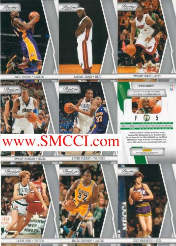 2010 / 2011 Panini Prestige Basketball Series Complete Mint Basic 150 Card Hand Collated Set Including Kobe Bryant, Lebron James, Larry Bird, Pete Maravich, Magic Johnson, Kevin Durant, Dwyane Wade and Many Others!! (No Topps Will Be Issued This Year)