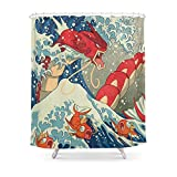 Society6 The Great Red Wave Shower Curtain 71'' by 74''