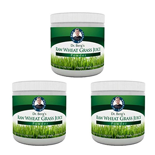 Wheat Grass Juice Powder - Raw & Ultra-Concentrated Nutrients - Rich in Vitamins, Chlorophyll, Trace Minerals & Amino Acids - 60 Servings - Gluten Free - Non-GMO - 5.3 oz (3 Pack) by Dr. Berg Nutritional
