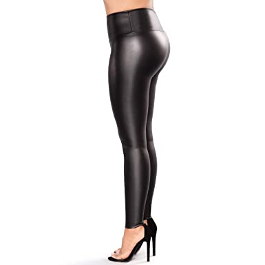 bb49373dbc01 Retro Plus Size Womens Leather Leggings Stretchable High Waisted Leather  Pants at Amazon Women's Clothing store: