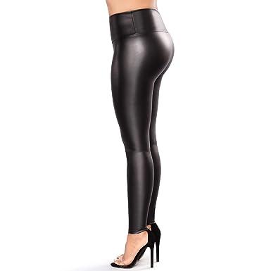 832b201ddec24f Retro Plus Size Womens Leather Leggings Stretchable High Waisted Leather  Pants (Black, L-