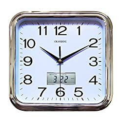 Chuang Rong Large Wall Clock 11.5 Inch classic Large Square Elegant Wall Clock Quality Quartz Battery with Inset LCD Display with Day/Date (Silver)