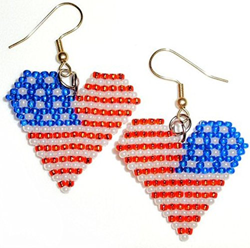 American Flag Heart Earrings Handmade July 4th Jewelry Beaded Patriotic Hearts Earring seed beads native symbol patriotic awesome style