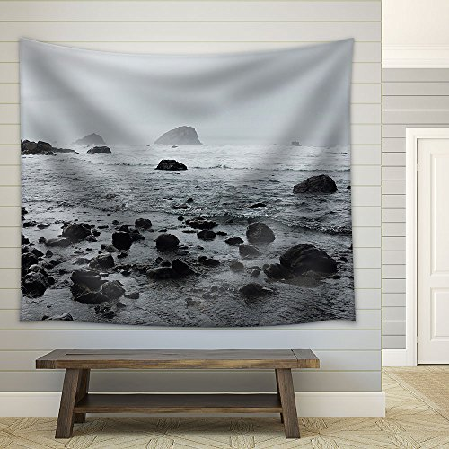 Rock Stones on the Beach in Cloudy Day Fabric Wall
