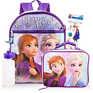 Disney Frozen Backpack Set for Girls ~ 5 Pc Deluxe 16″ Frozen Backpack with Lunch Bag, Stickers, and More (Frozen School Supplies)