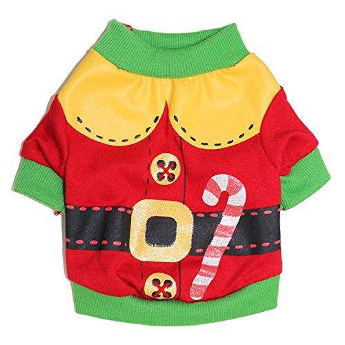 (DroolingDog Dog Christmas Shirt Pet Xmas Clothes Dog Santa Claus Costume T Shirts for Small Dogs, XS, Red)