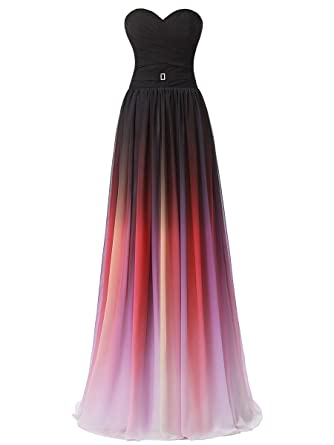 Callmelady Gradient Color Sweetheart Prom Dresses 2018 Ruched Long Bridesmaid Dresses (Black Shades, UK30