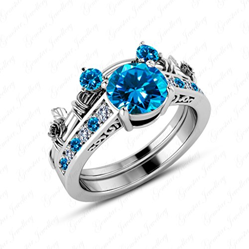 Gemstar Jewellery 18K White Gold Finish Round Cut Blue Topaz Wedding Mickey Mouse Ring Bridal Set