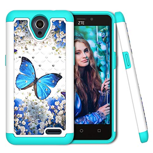 ZTE N9136 Case, COTDINFORCA Rhinestone Bling Diamond Shock Absorption Heavy Duty Protective Dual Layer Silicone Plastic Cover for ZTE Maven 3 / ZTE Prestige 2 / ZTE N9136. 2 in 1 - Blue Butterfly
