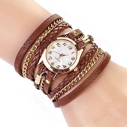 Frauen Damen Uhr Weben Wickeln Niet Leder Armband Quarz Analog Armbanduhr (Braun)