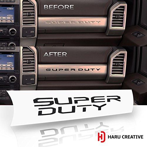 Haru Creative - Ford Super Duty F250 F350 F450 (2017-2018) Glove Box Dashboard Letter Insert Overlay Vinyl Decal - Matte Black