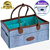 Ezpeazey Diaper Caddy Organizer Basket With Wallet Bag | Leather Handles, Smart Clip, Unisex Grey, Cute Rectangular & Portable Design | For Baby Shower Gifts, Bibs, Toys, Creams, Wipes, Cloths & More