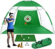 IMIFUN Big Size Golf net/Chipping net, 60 * 30cm mat, 3 Golf Balls, 2 Ball Holders, Golf Practice Net Suitable